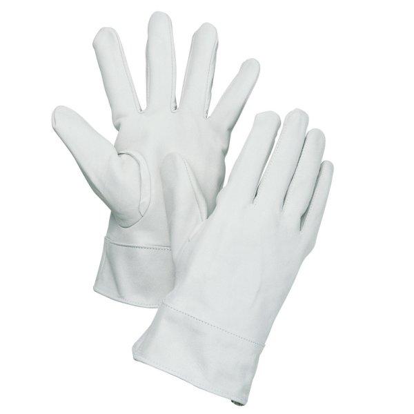 画像1: 牛皮製クレスト手袋 白袖付  (1)