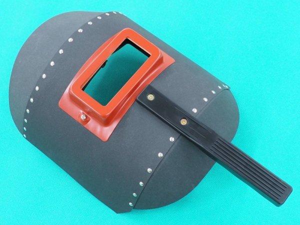 画像1: 手持面 リベッティング遮光面(ファイバー製)No.K001丸面C型 黒 (1)