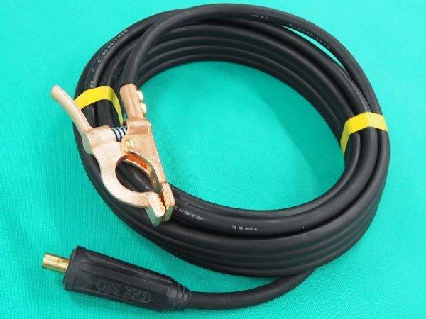 画像1: フルデジタルTIG機300Aアースクリップ付ケーブル38S線+DINSE大オス接続 (1)