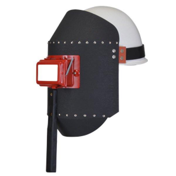 画像1: 両用面(ファイバー製) K015 丸面C3型開閉式・ゴムベルト付き 黒色 (1)
