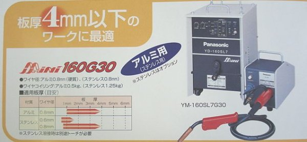 画像1: Pansonic 一元化制御CO2/MAG半自動溶接機 ミニ160G30 (1)